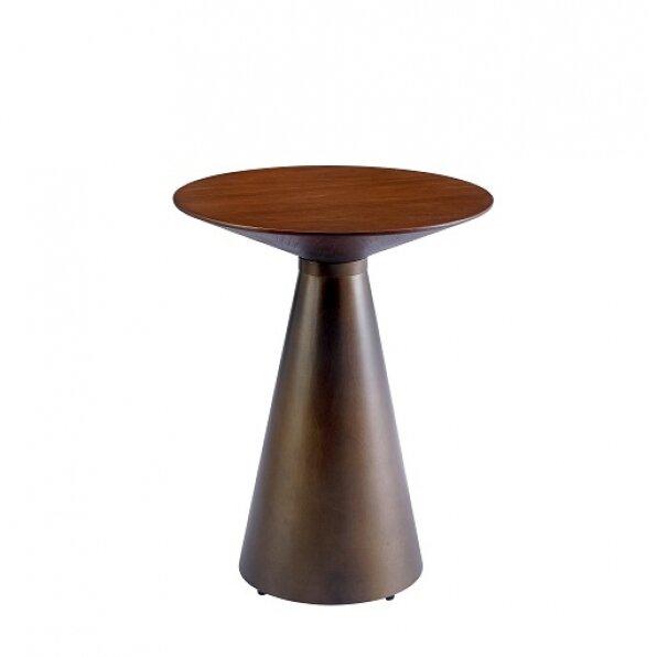שולחן צד ברונזה חרוט + פלטת עץ