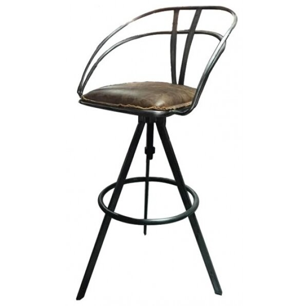 כסא בר עור וינטג