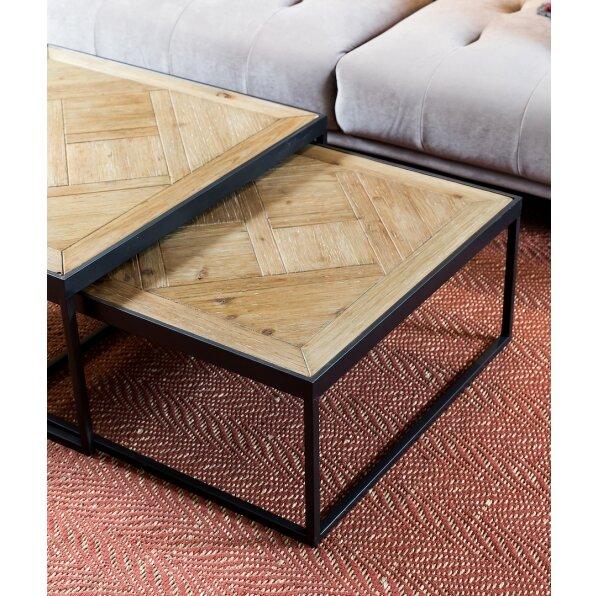 סט 2 שולחן קפה מרובע קארן טבעי