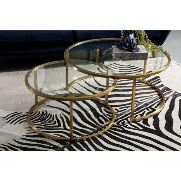 סט 2 שולחן קפה סוזן (זהב מבריק/בראס)