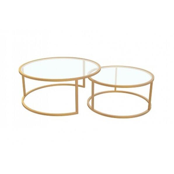 סט 2 שולחן קפה אוויטה זהב