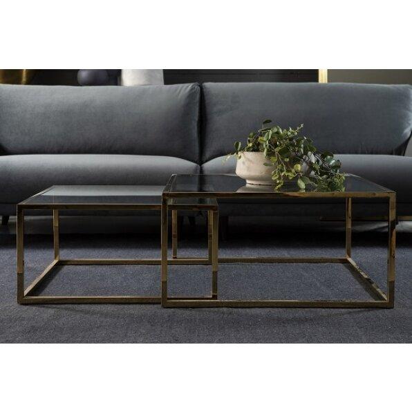 סט 2 שולחן קפה טיילור מרובע (זהב מבריק/ בראס)
