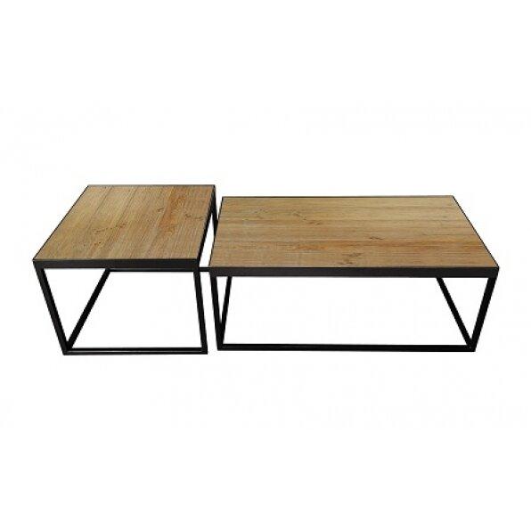 סט 2 שולחן קפה מלבן עץ אורן דייגו