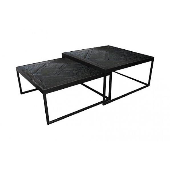 סט 2 שולחן קפה מרובע קארן שחור