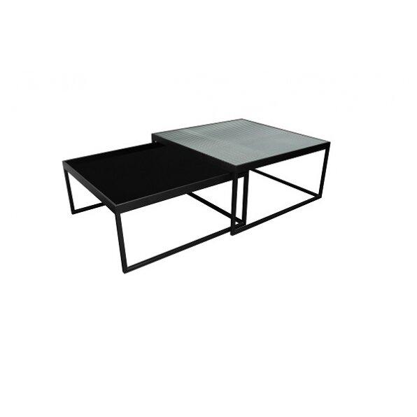 סט 2 שולחן מרובע זכוכית פסים