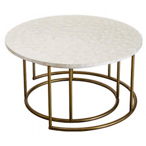 סט 2 שולחן קפה צדף (רגל זהב/רגל שחורה)