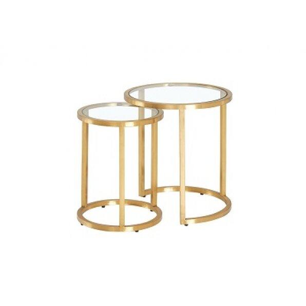 סט 2 שולחן צד סוזן (זהב מבריק/בראס)