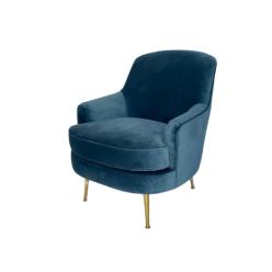 כורסא מרייה קטיפה כחול מעושן