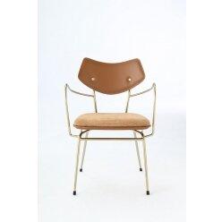 כסא אסייה עור חום ידית זהב