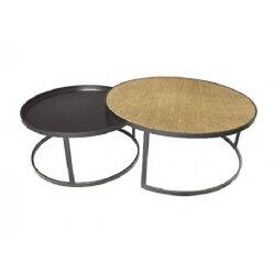 סט 2 שולחן ראטן וברזל