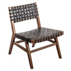 50107311 - כורסא נורדיק עץ עור שחור 57.73.75