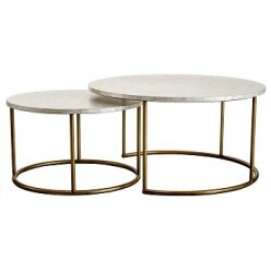 5010735951 - סט 2 שולחן קפה צדף  רגל זהב